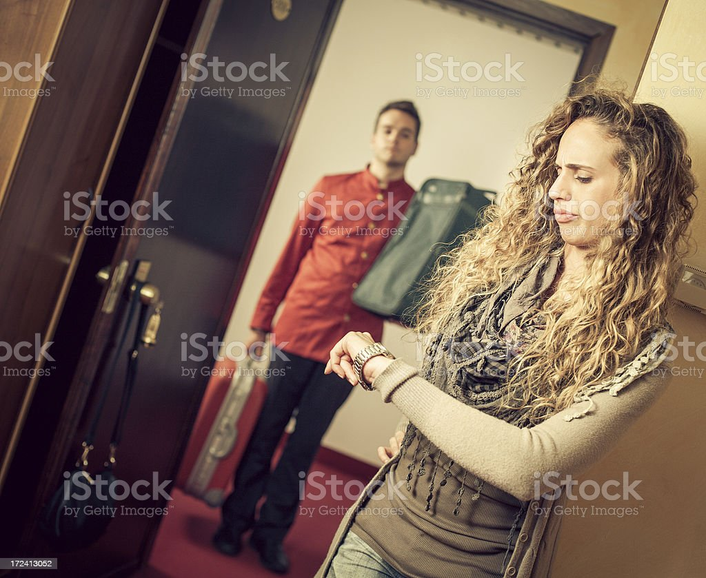 Guest gets unapphy: the porter is late stock photo