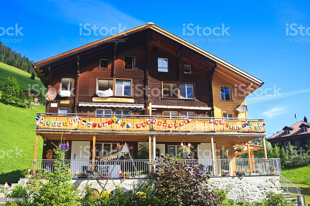 Guest house, Gimmelwald, Switzerland stock photo