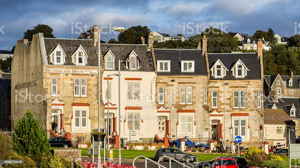 Guest houses at Oban sun bathed waterfront stock photo
