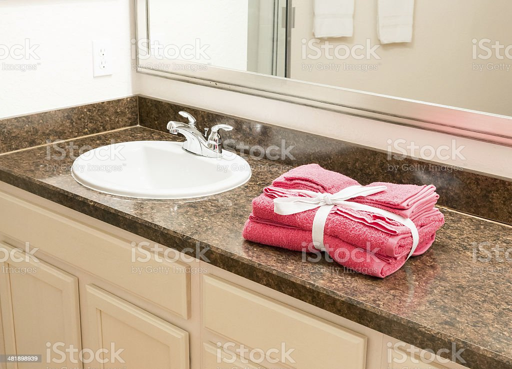 Guest towels in bathroom stock photo