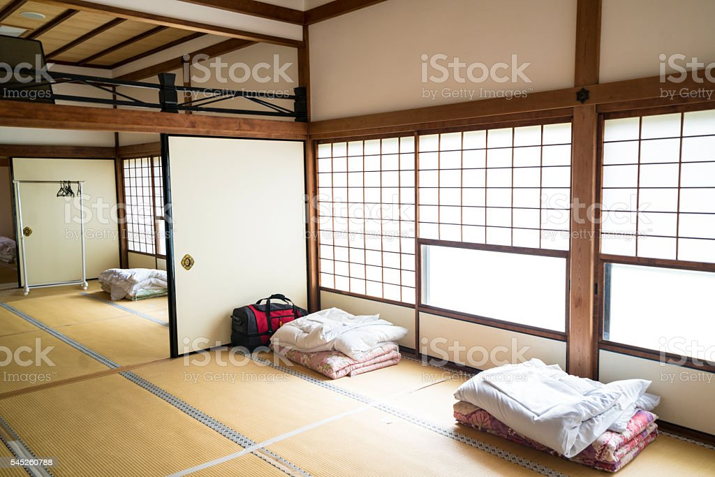 Guesthoue bedroom in Chion.ji temple in Kyoto, Japan stock photo