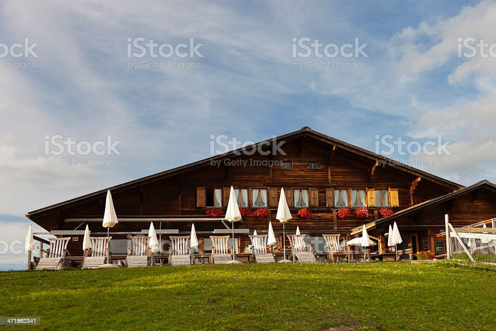 Guesthouse on Mountain Top in Swiss Alps stock photo