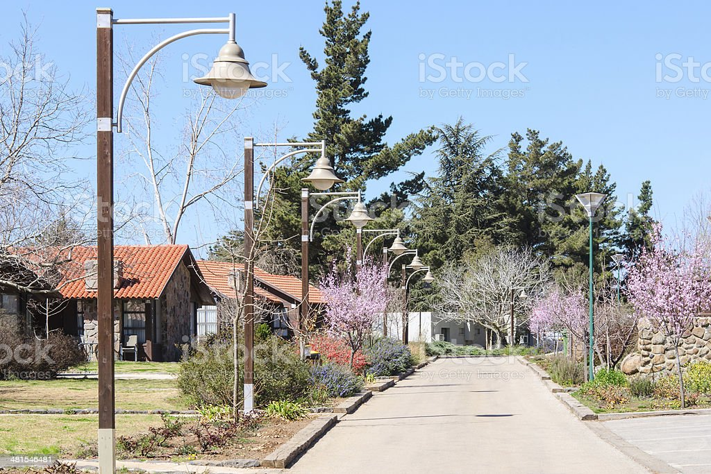 Guesthouses in the countryside at springtime stock photo