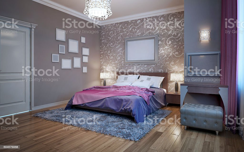 Guests bedroom in private house stock photo