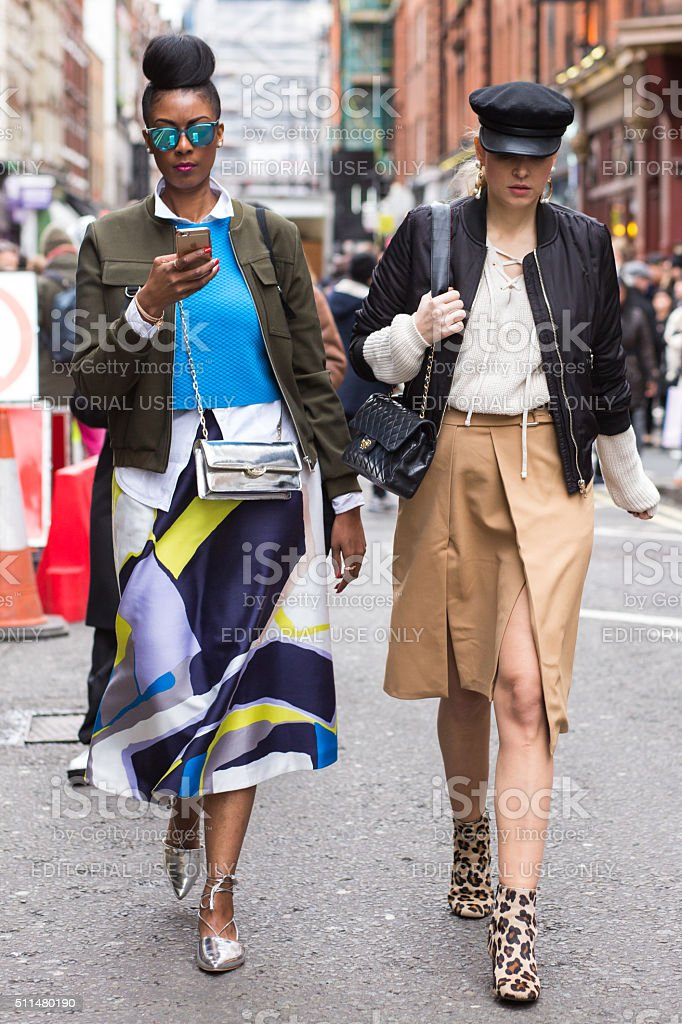 Guests outside David Koma during London Fashion Week AW16 stock photo