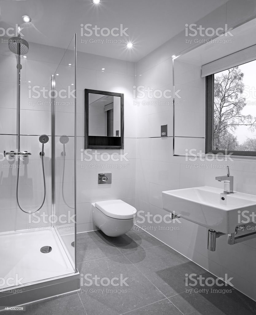 Guest's shower  room stock photo