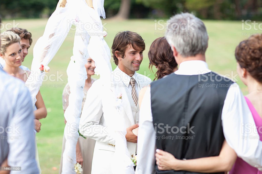Guests watching bride and groom royalty-free stock photo