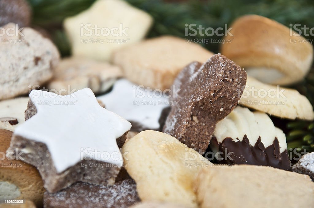 Guetzli, selection of typical swiss christmas cookies stock photo