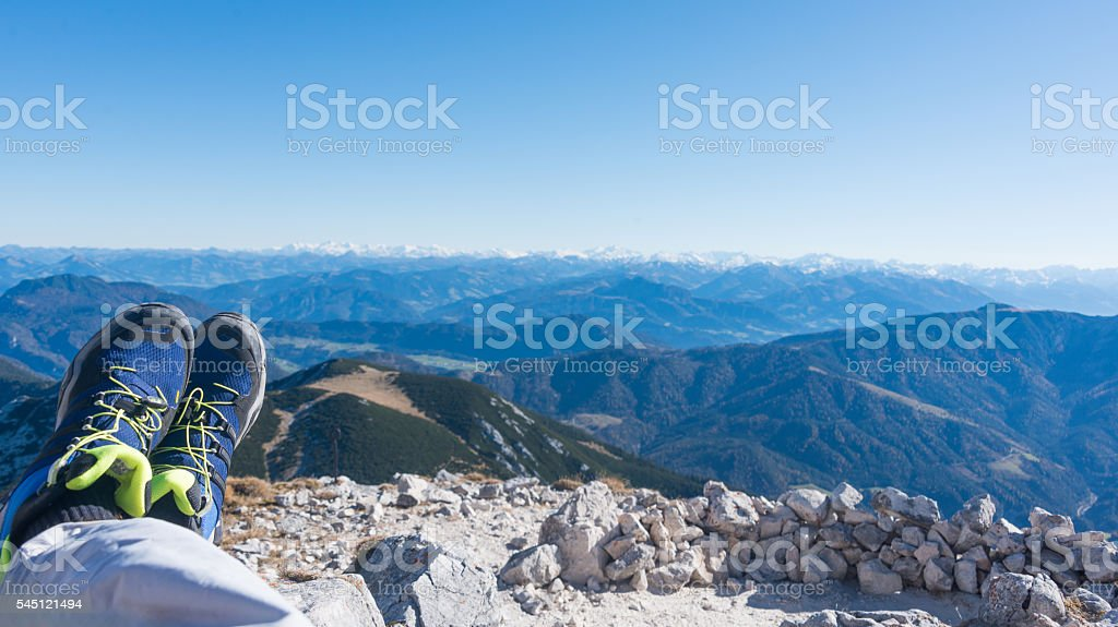 Guffertspitze - mountain panorama in european alps with boots stock photo