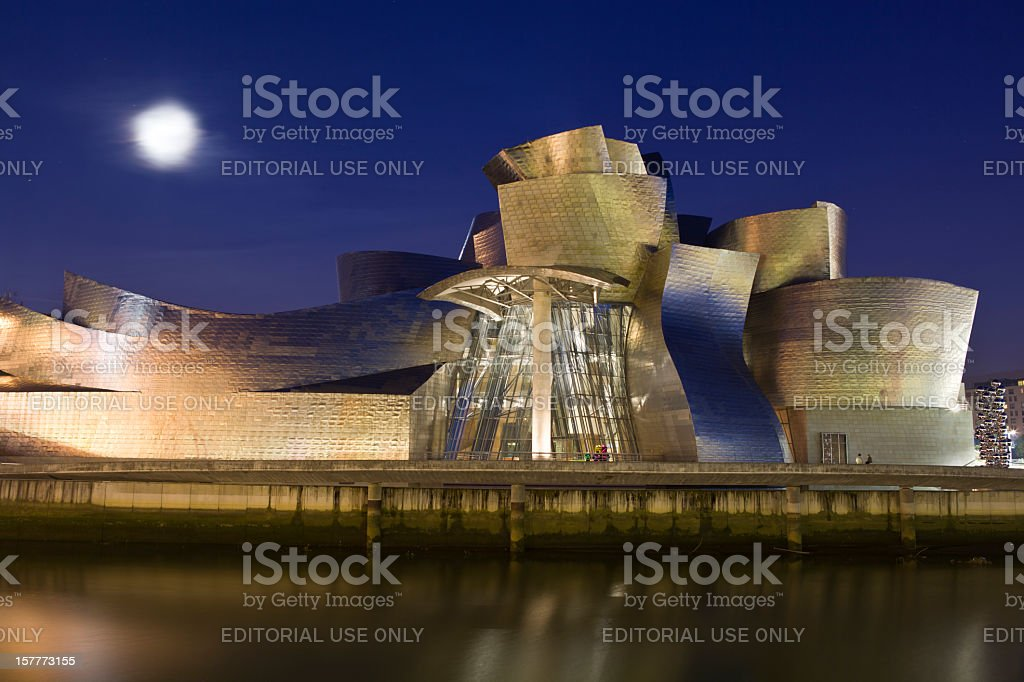 Gugenheim Bilbao museum at night stock photo