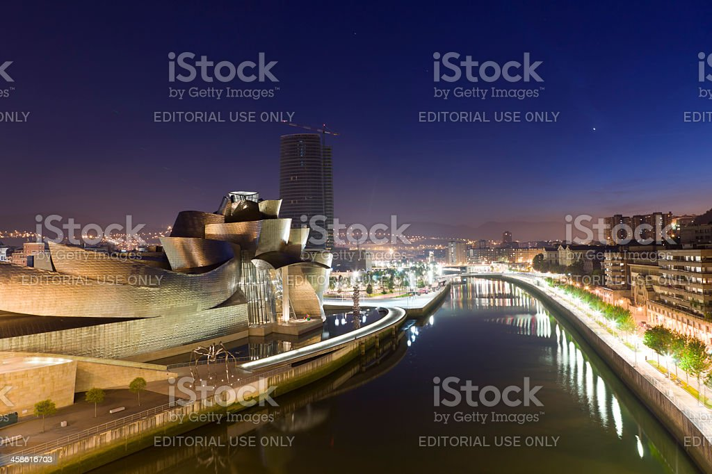 Guggenheim Bilbao museum  at night stock photo