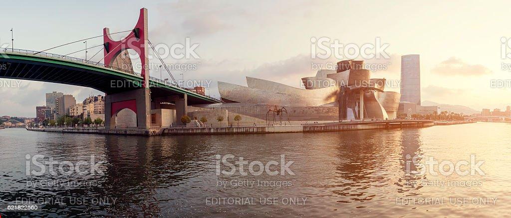 Guggenheim Museum Bilbao and Iberdrola Tower at sunset stock photo