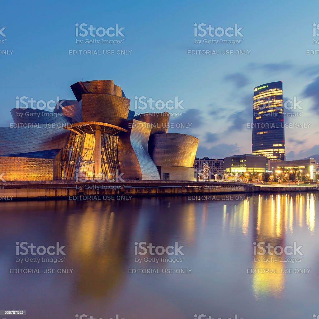 Guggenheim Museum Bilbao and Iberdrola Tower stock photo