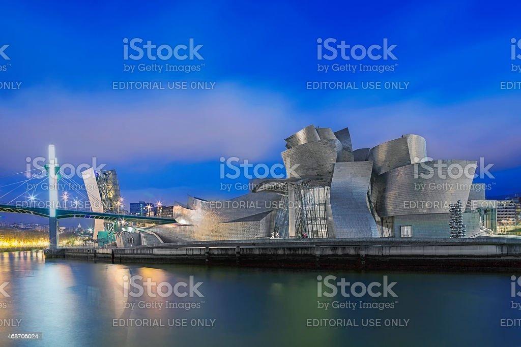 Guggenheim Museum Bilbao at Night stock photo