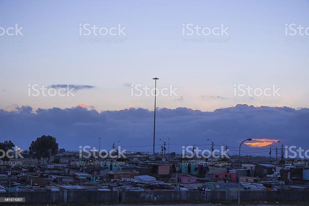 Gugulethu township at sunset royalty-free stock photo