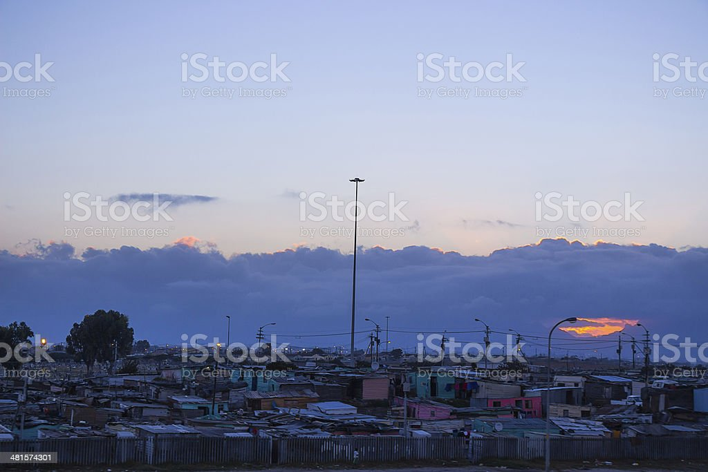 Gugulethu township at sunset stock photo
