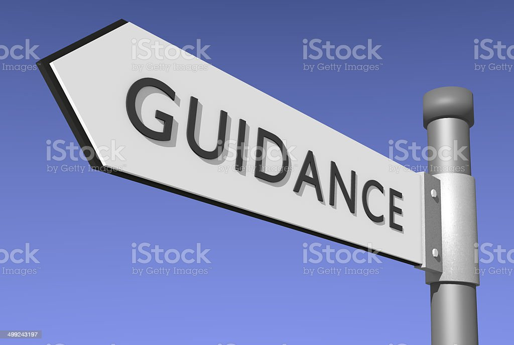 Guidance signpost stock photo