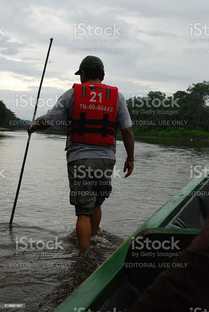Guide Looks for Deeper Water stock photo