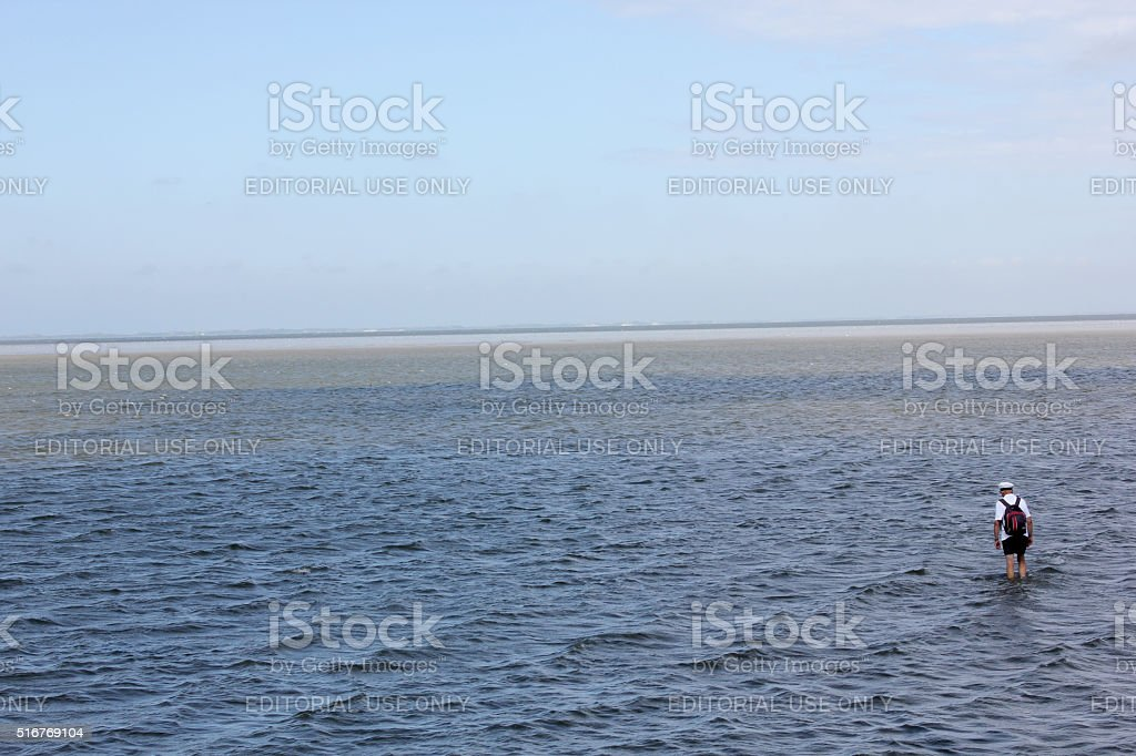 Guide of a mudflat hike starting the tour stock photo