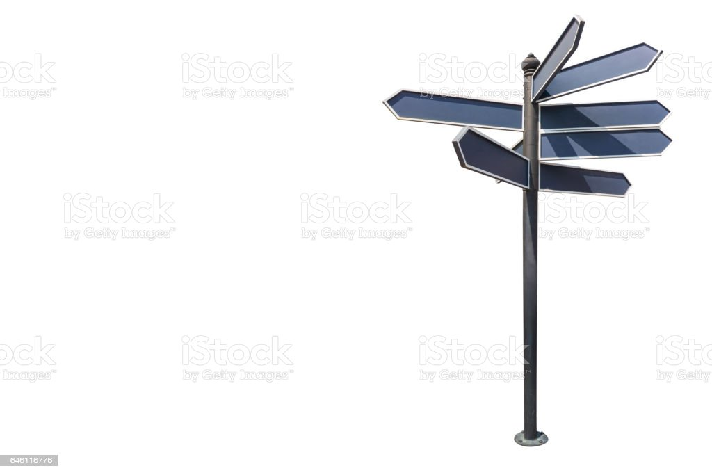 guide post,isolated on white background with clipping path. stock photo