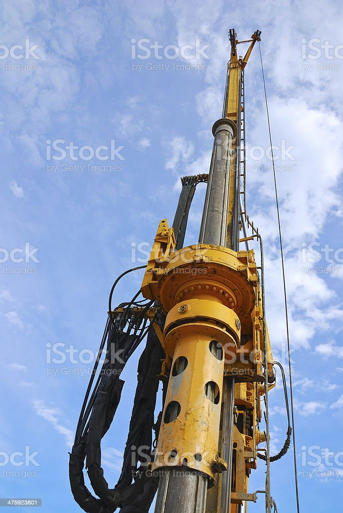 Guide rail an auger on the site stock photo