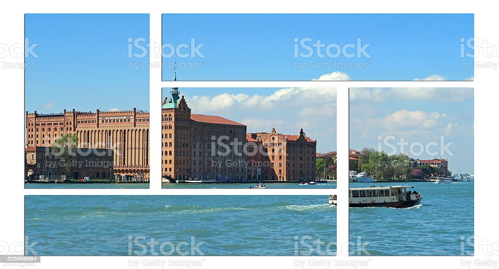 Guidecca Canal in Venice and remodeled Stucky flour mill stock photo