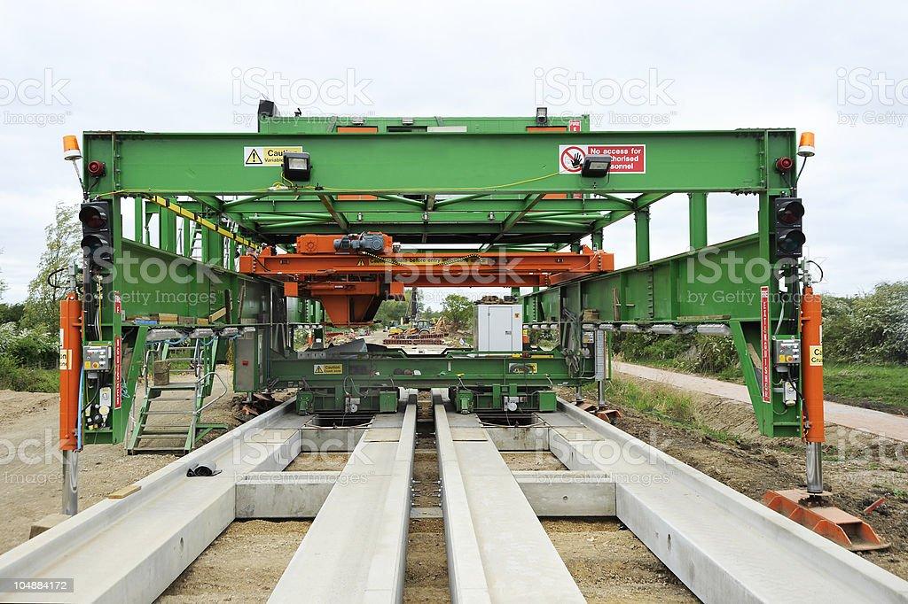Guided Busway Laying Machine stock photo