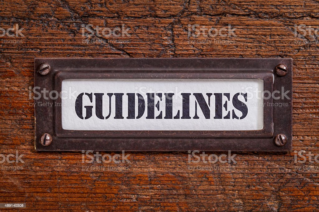 guidelines file cabinet label stock photo