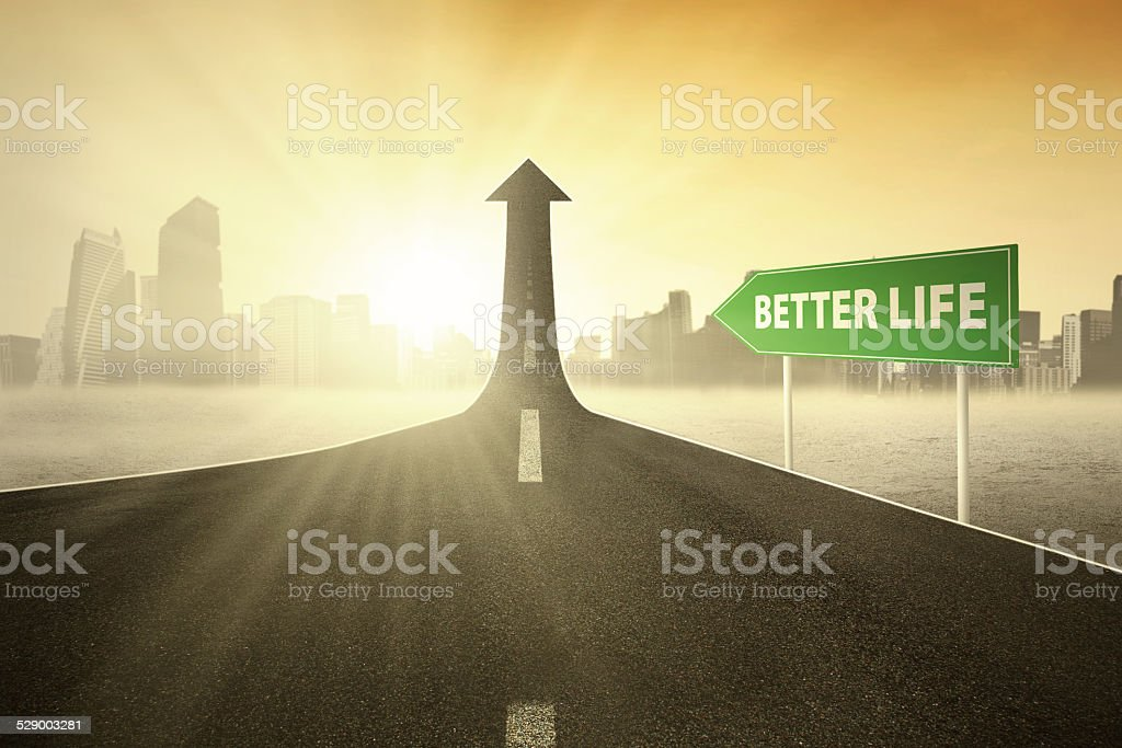 Guidepost with Better Life text stock photo