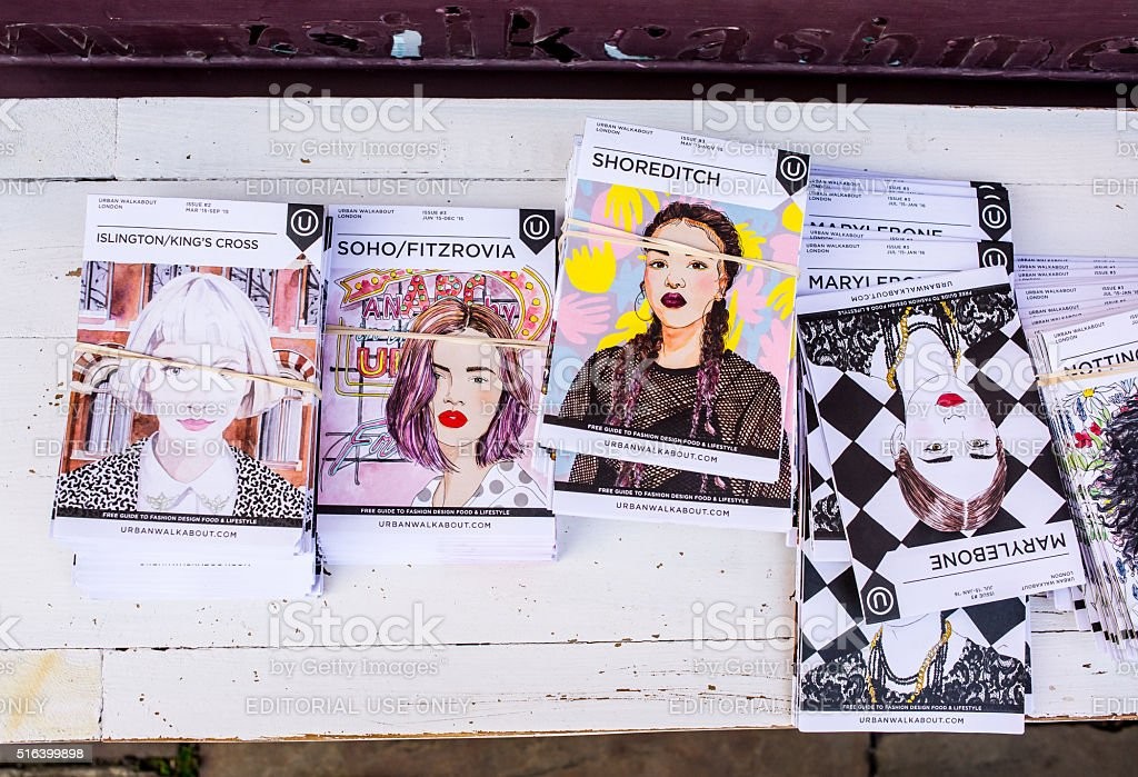 Guides of London boroughs with portraits of trendy women stock photo