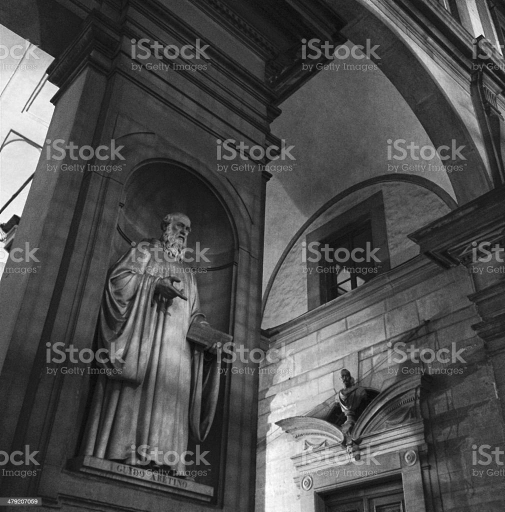 Guido Aretino's statue in Florence royalty-free stock photo