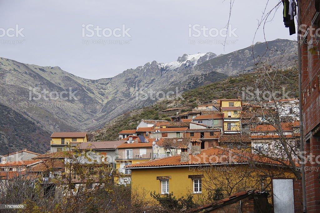 Guijo de Santa Barbara and Gredos Mountains with snow royalty-free stock photo