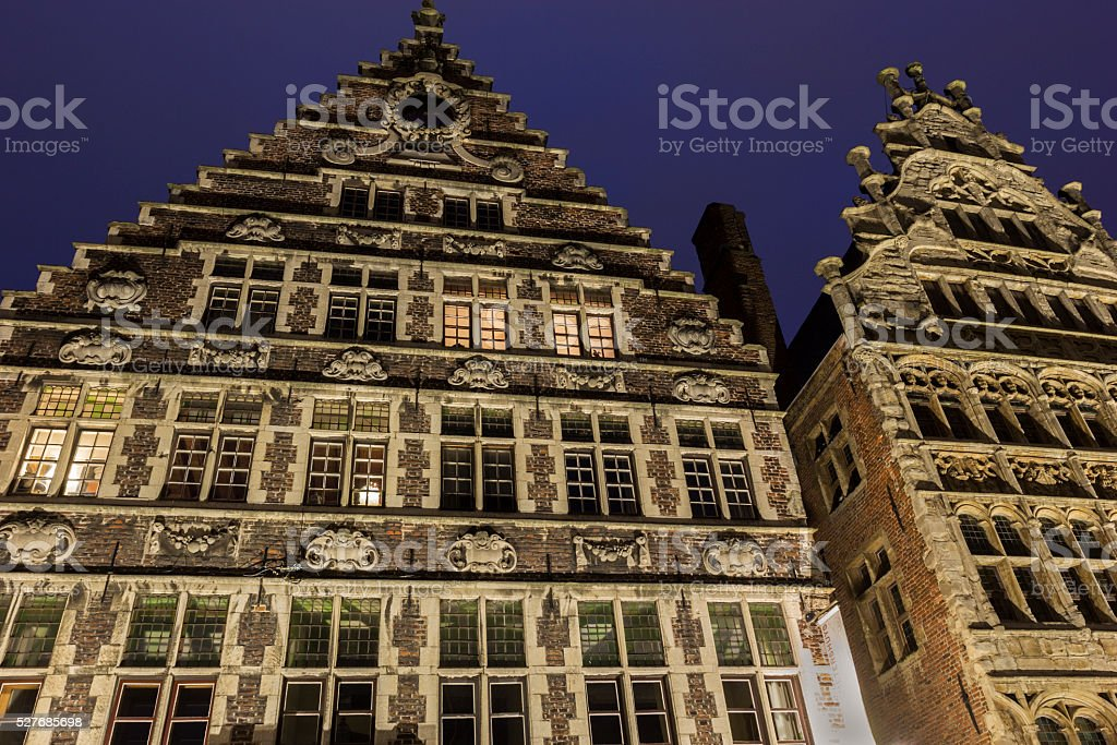 Guild house in Graslei in Ghent, Belgium stock photo