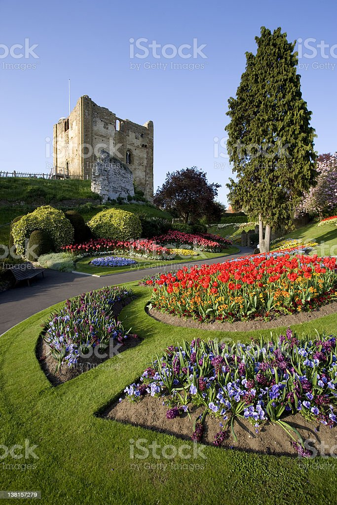 Guildford castle old English garden Surrey stock photo