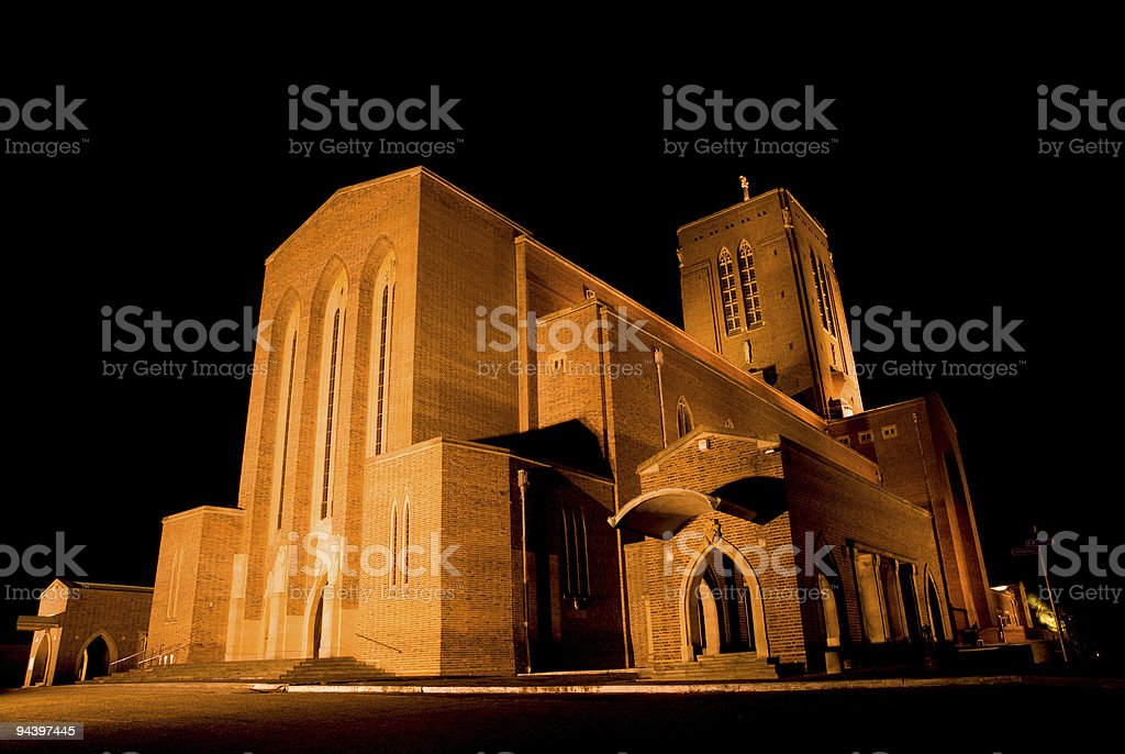 Guildford Cathedral at Night stock photo
