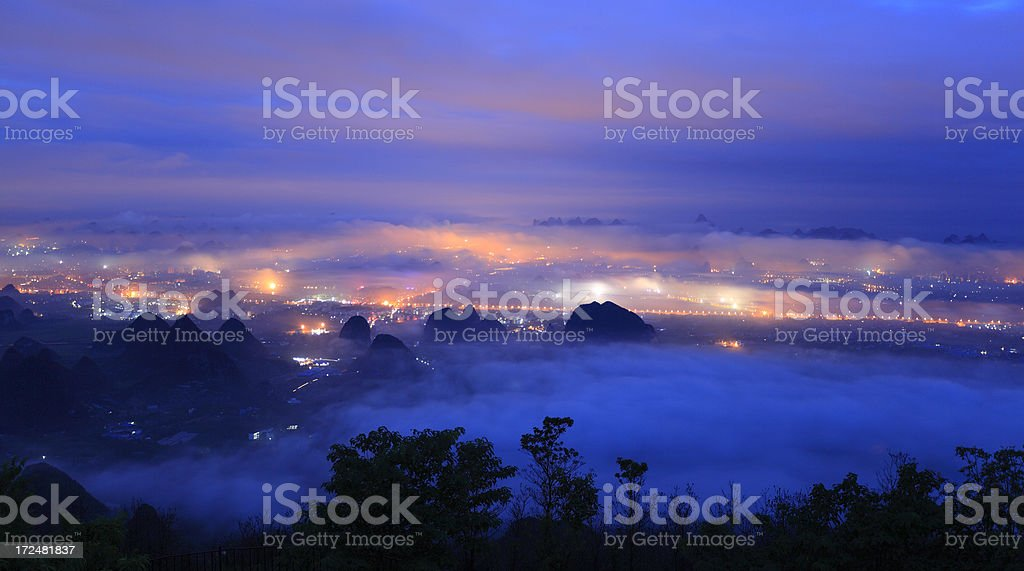 Guilin city at dawn royalty-free stock photo