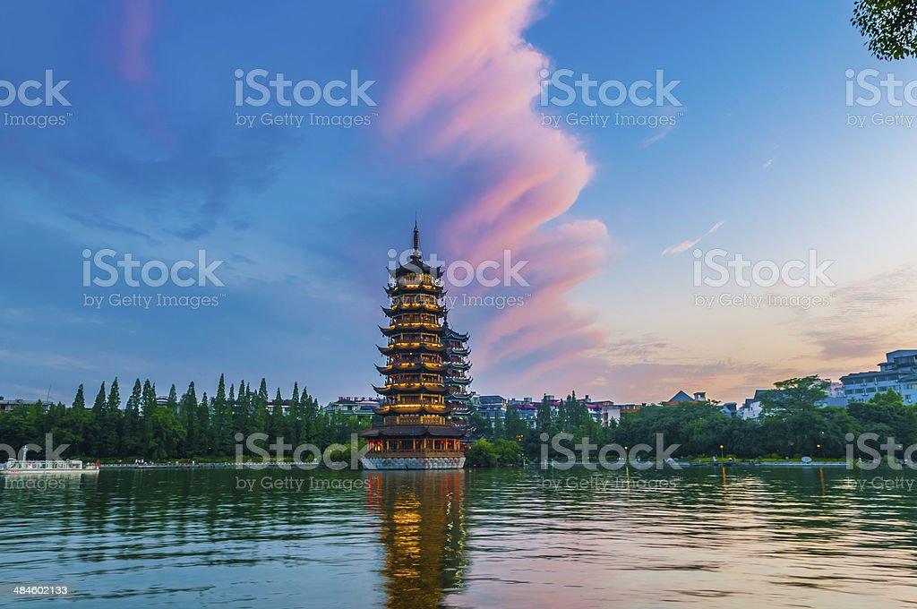 guilin double pagoda stock photo