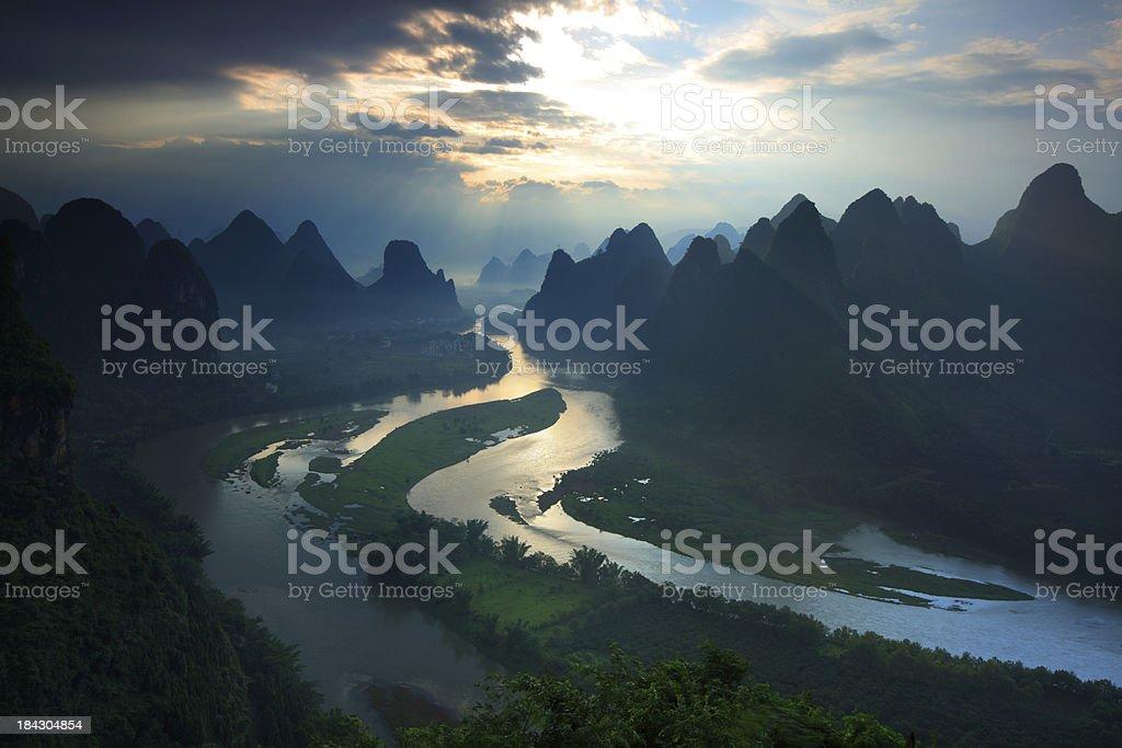 guilin hills at dawn stock photo
