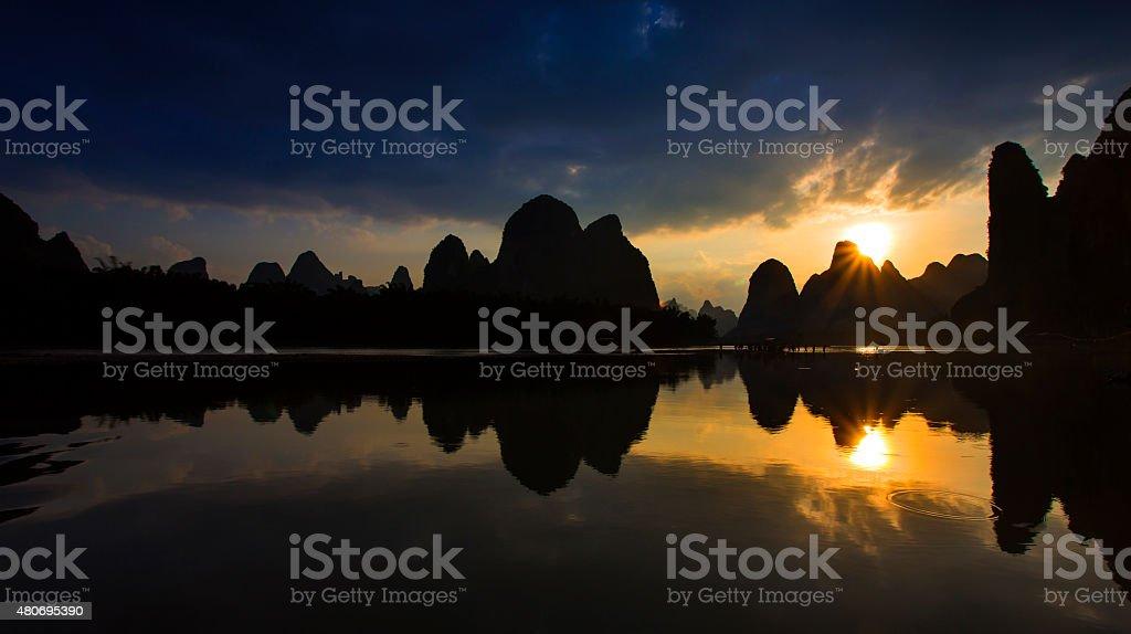 Guilin Lijiang Sunrise stock photo