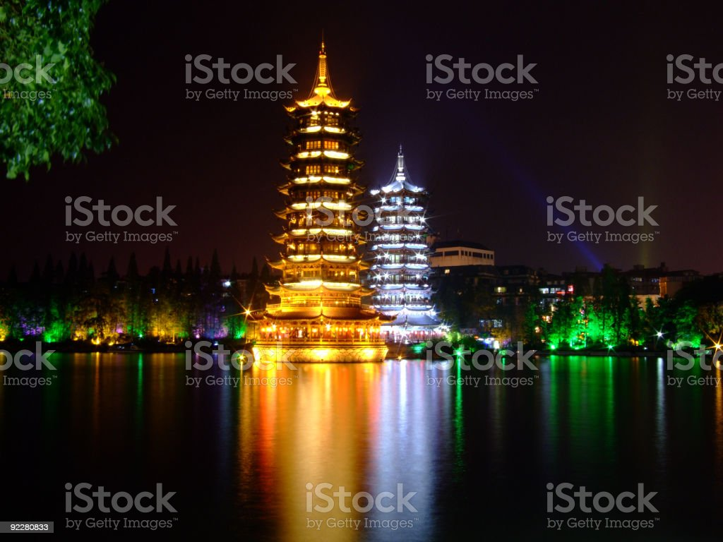 Guilin Pagodas by night stock photo