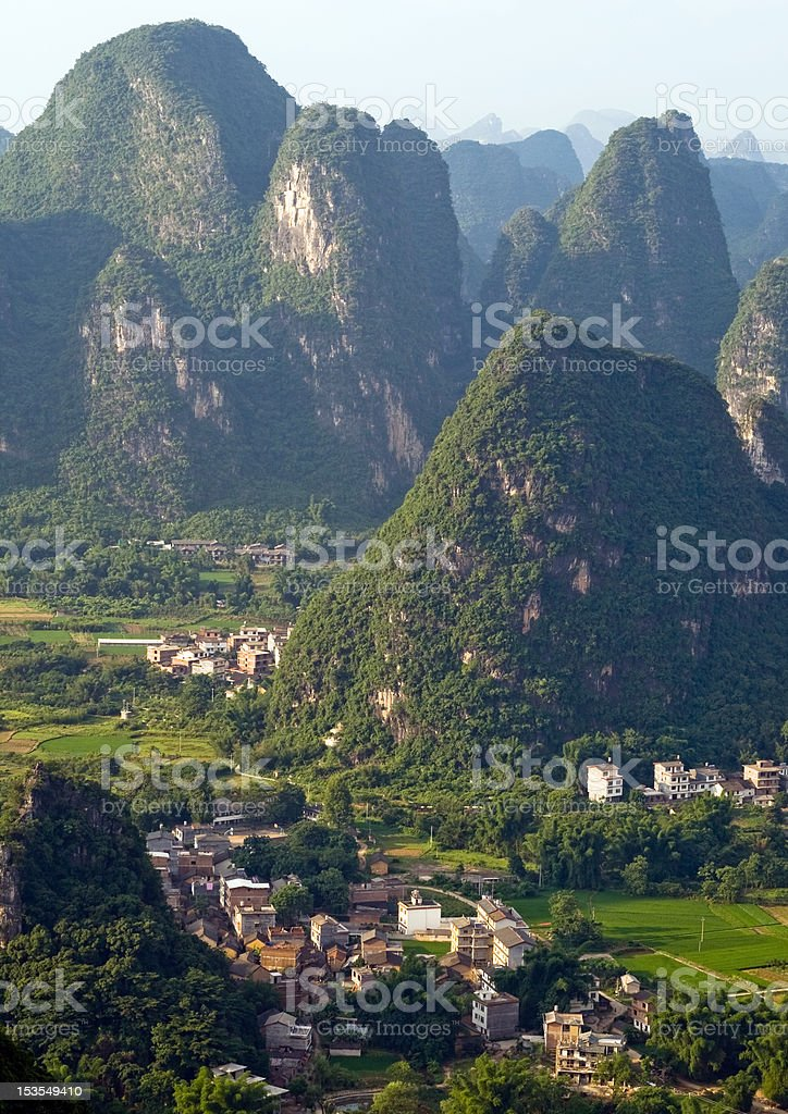 Guilin village at sunset (aerial view) royalty-free stock photo