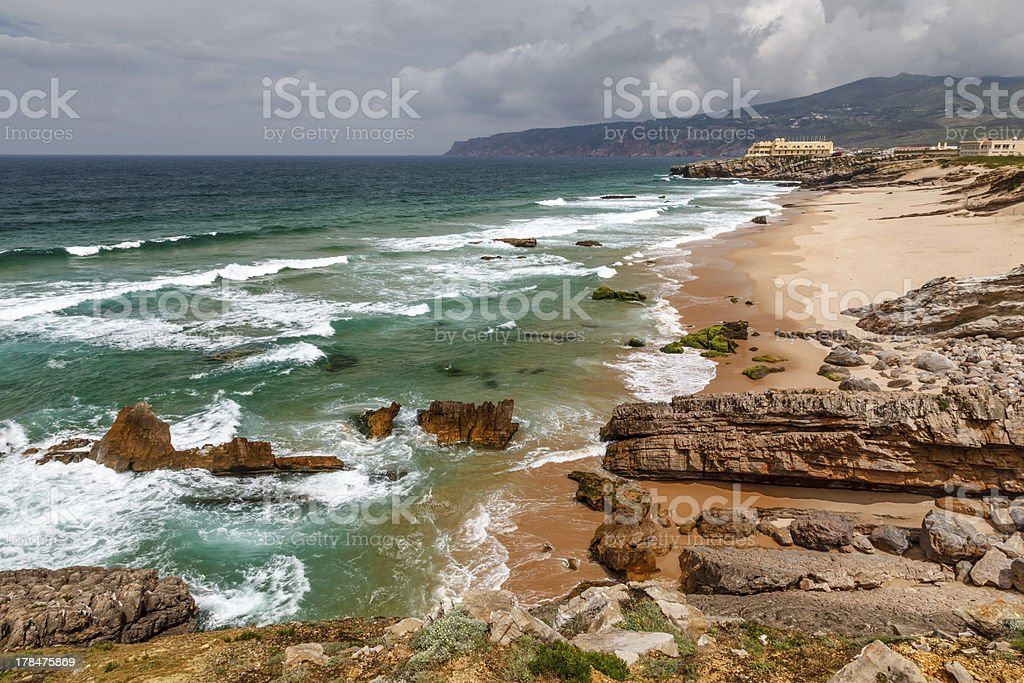Guincho Beach on Atlantic Ocean in Stormy Weather near Lisbon royalty-free stock photo