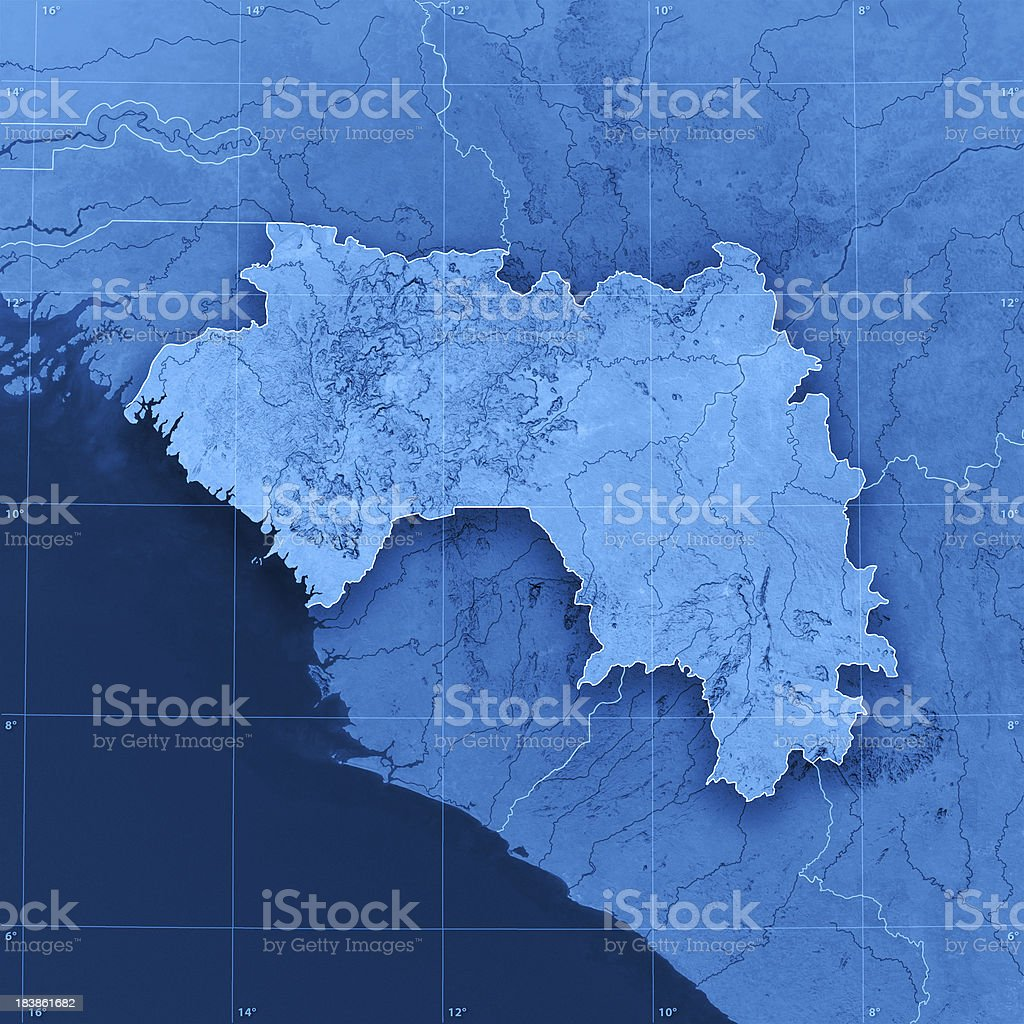 Guinea Topographic Map royalty-free stock photo