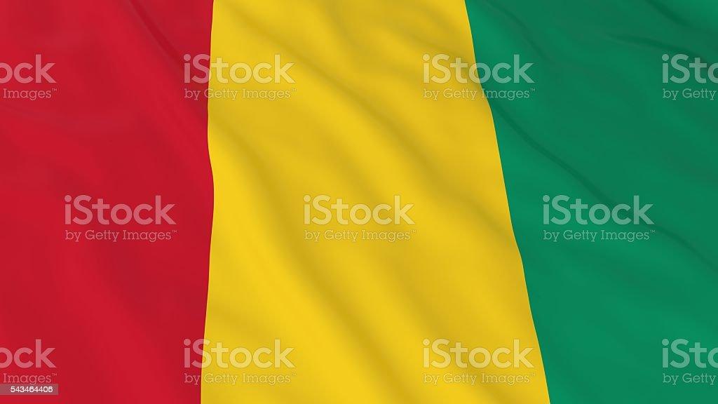Guinean Flag HD Background - Flag of Guinea 3D Illustration stock photo