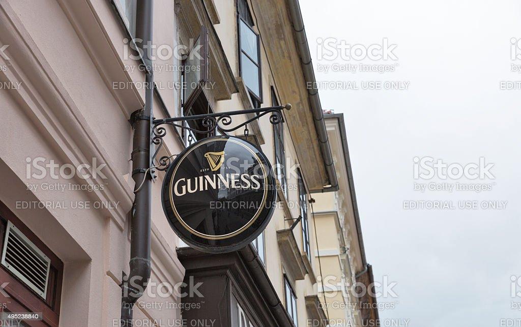 Guinness logo in Ljubljana, Slovenia. stock photo
