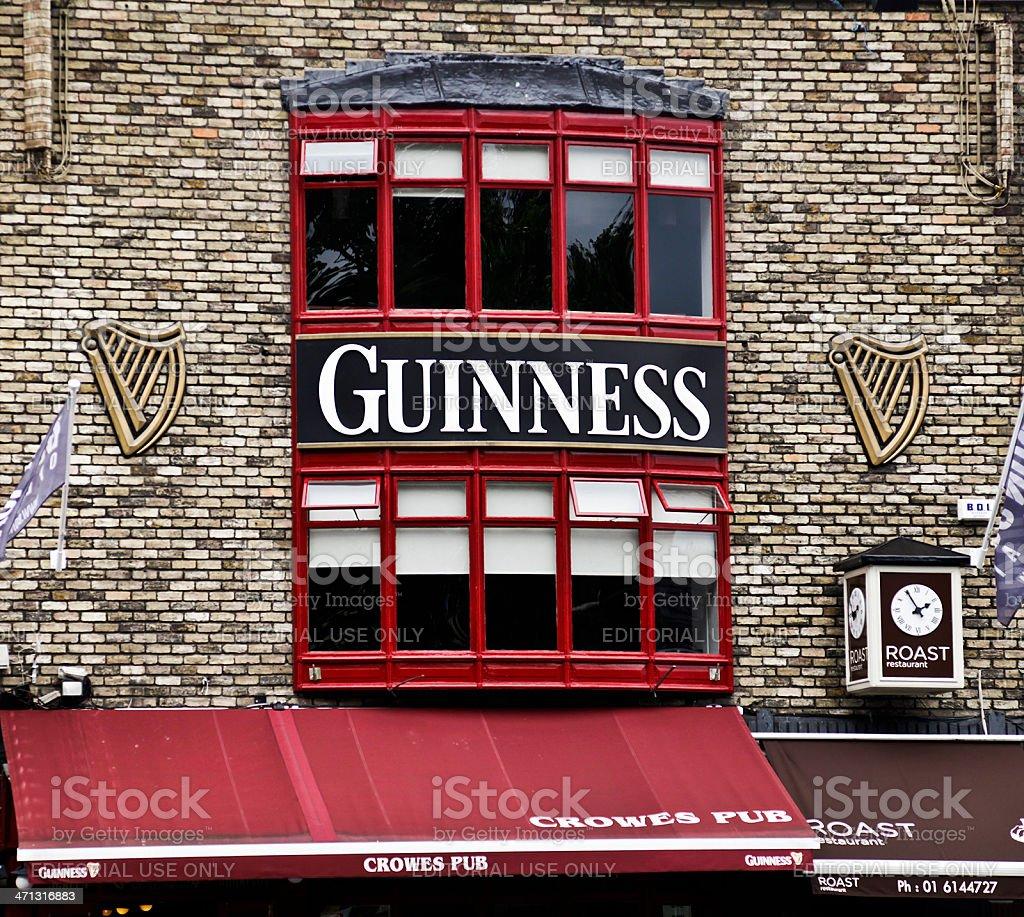 Guinness sign above Crowes Pub, Ballsbridge, Dublin stock photo