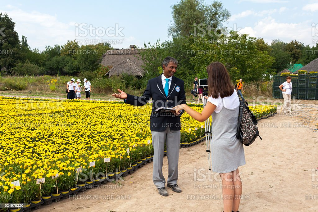 Guinness World Records ambassador gives an interview to Ukrainian blogger stock photo