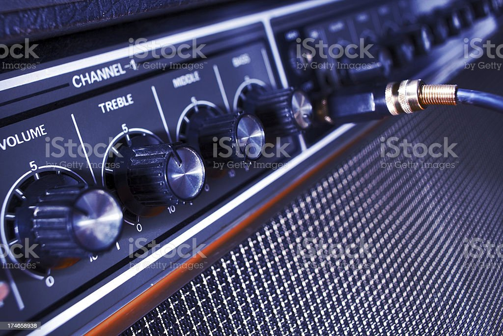 Guitar Amp on Stage stock photo