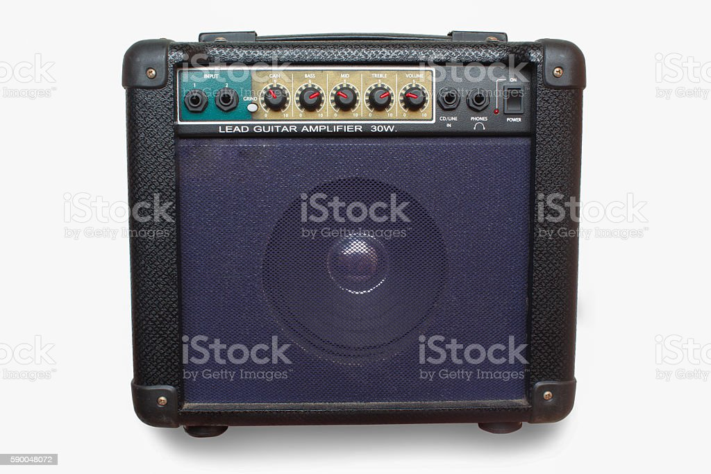 guitar amplifier isolated on white background stock photo