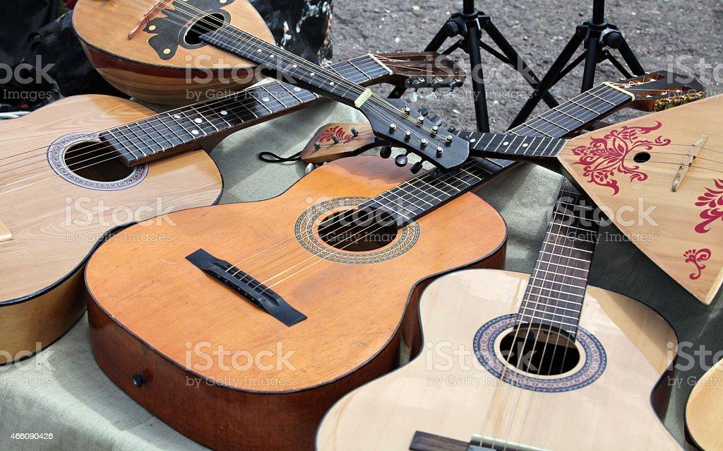 guitar and balalaika stock photo